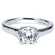 Bradshaw 18k White Gold Round Solitaire Engagement Ring angle 1