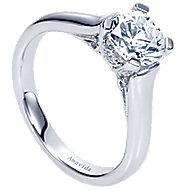 Bradshaw 18k White Gold Round Solitaire Engagement Ring angle 3