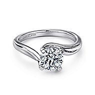 Bria 14k White Gold Round Bypass Engagement Ring angle 1