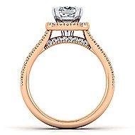 Brianna 14k White And Rose Gold Cushion Cut Halo Engagement Ring angle 2