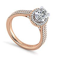 Brianna 14k White And Rose Gold Oval Halo Engagement Ring angle 3