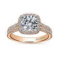 Brianna 14k White And Rose Gold Round Halo Engagement Ring angle 5