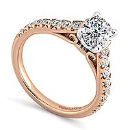 Bridget 14k White And Rose Gold Oval Straight Engagement Ring angle 3
