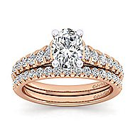 Bridget 14k White And Rose Gold Oval Straight Engagement Ring angle 4