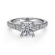 Bridget 14k White Gold Round Straight Engagement Ring angle 1