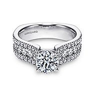 Brielle 14k White Gold Round Straight Engagement Ring angle 1