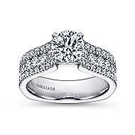 Brielle 14k White Gold Round Straight Engagement Ring angle 5
