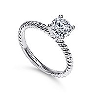 Briony 14k White Gold Round Straight Engagement Ring angle 3