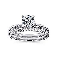 Briony 14k White Gold Round Straight Engagement Ring angle 4