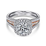 Brooklyn 18k White And Rose Gold Round Halo Engagement Ring angle 1