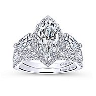Bryson 18k White Gold Marquise  3 Stones Halo Engagement Ring