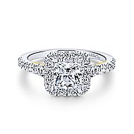Cadence 14k Yellow And White Gold Princess Cut Halo Engagement Ring angle 1