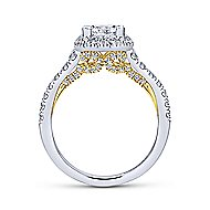 Cadence 14k Yellow And White Gold Princess Cut Halo Engagement Ring angle 2