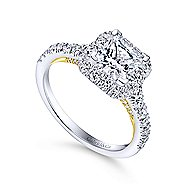 Cadence 14k Yellow And White Gold Princess Cut Halo Engagement Ring angle 3