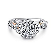 Cadi 18k White And Rose Gold Round Halo Engagement Ring angle 1