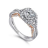 Cadi 18k White And Rose Gold Round Halo Engagement Ring angle 3