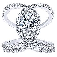 Caldera 14k White Gold Round Halo Engagement Ring angle 4