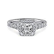 Calla 14k White Gold Princess Cut Halo Engagement Ring angle 1