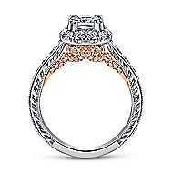Callie 14k White And Rose Gold Cushion Cut Halo Engagement Ring angle 2