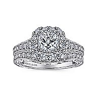 Callie 14k White And Rose Gold Cushion Cut Halo Engagement Ring angle 4