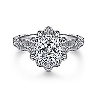 Calliope 14k White Gold Cushion Cut Halo Engagement Ring angle 1