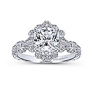 Calliope 14k White Gold Cushion Cut Halo Engagement Ring angle 5