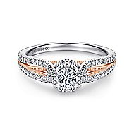 Calypso 14k White And Rose Gold Round Halo Engagement Ring angle 1