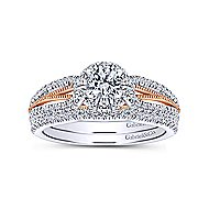 Calypso 14k White And Rose Gold Round Halo Engagement Ring angle 4