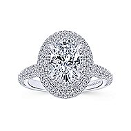 Camellia 18k White Gold Oval Double Halo Engagement Ring angle 5