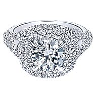 Cami 18k White Gold Round Double Halo Engagement Ring angle 1