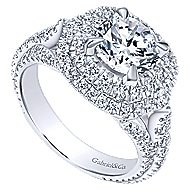 Cami 18k White Gold Round Double Halo Engagement Ring angle 3