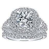 Cami 18k White Gold Round Double Halo Engagement Ring angle 4