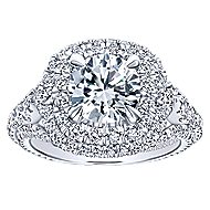 Cami 18k White Gold Round Double Halo Engagement Ring angle 5