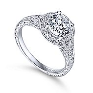 Camlet 18k White Gold Round Halo Engagement Ring angle 3