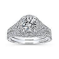 Camlet 18k White Gold Round Halo Engagement Ring angle 4