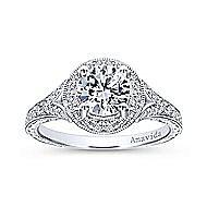 Camlet 18k White Gold Round Halo Engagement Ring angle 5