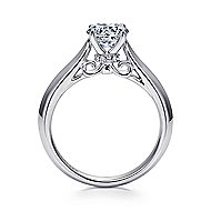 Campanula 18k White Gold Round Solitaire Engagement Ring angle 2