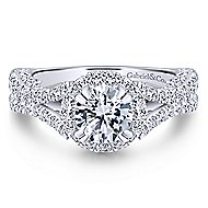 Cannes 14k White Gold Round Halo Engagement Ring angle 1