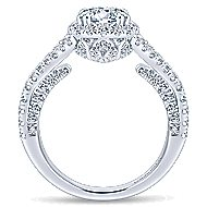 Cannes 14k White Gold Round Halo Engagement Ring angle 2