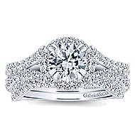 Cannes 14k White Gold Round Halo Engagement Ring angle 4