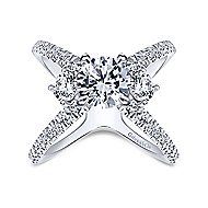 Cara 14k White Gold Round 3 Stones Engagement Ring angle 5
