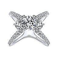 Cara 14k White Gold Round 3 Stones Engagement Ring