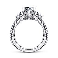 Cara 18k White Gold Round 3 Stones Engagement Ring angle 2