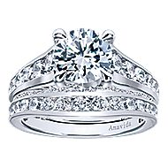 Carela 18k White Gold Round Straight Engagement Ring angle 4