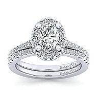 Carly 14k White Gold Oval Halo Engagement Ring