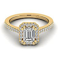 Carly 14k Yellow Gold Emerald Cut Halo Engagement Ring angle 1