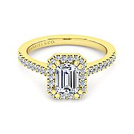 Carly 14k Yellow Gold Emerald Cut Halo Engagement Ring angle 2