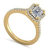 Carly 14k Yellow Gold Emerald Cut Halo Engagement Ring angle 3