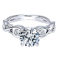 Carly 18k White Gold Round Straight Engagement Ring angle 1