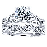 Carly 18k White Gold Round Straight Engagement Ring angle 4